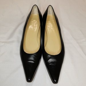 J. Crew   Black Leather Pointed Toe Flats Wide